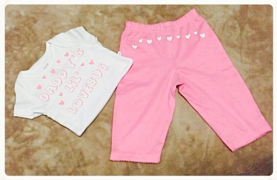 BABY ONESIE And PANTS Valentines Day Party By CryBabyFashion