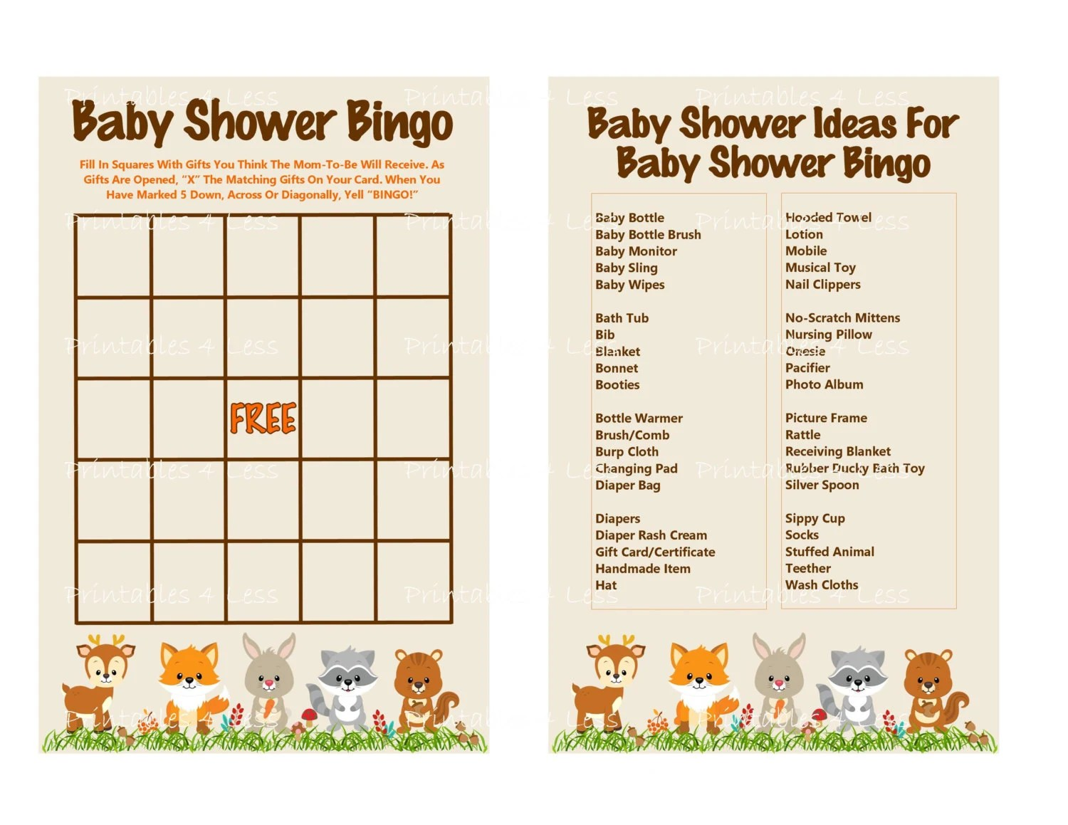 Woodland Bingo Game Baby Shower Bingo Game Printable Animal