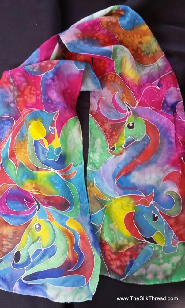 HORSE silk scarf, hand drawn equine art, horse art, created by artist M Theresa Brown, Gorgeous multi-colored silk horses. OOAK
