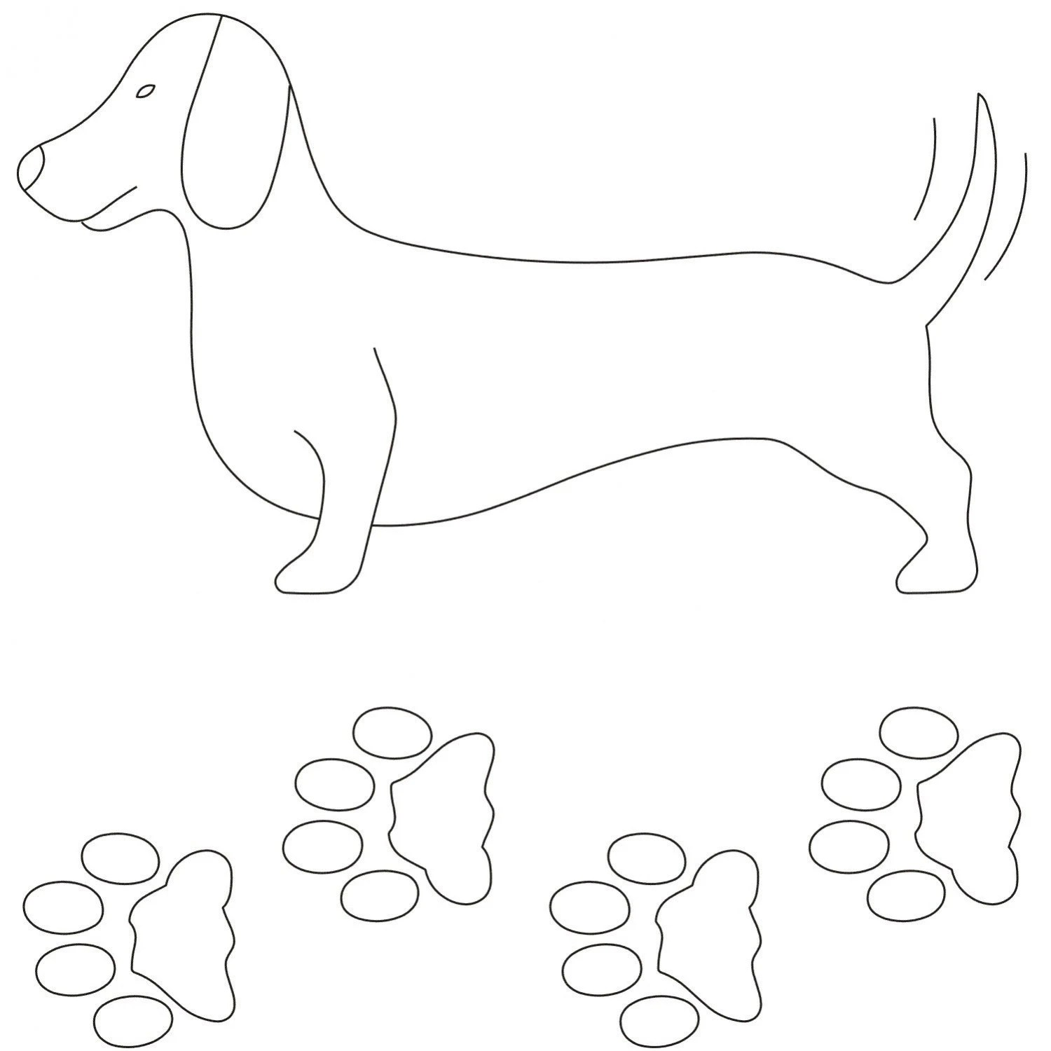 Notion Stencil Template Dachshund Dog Doxie Paws