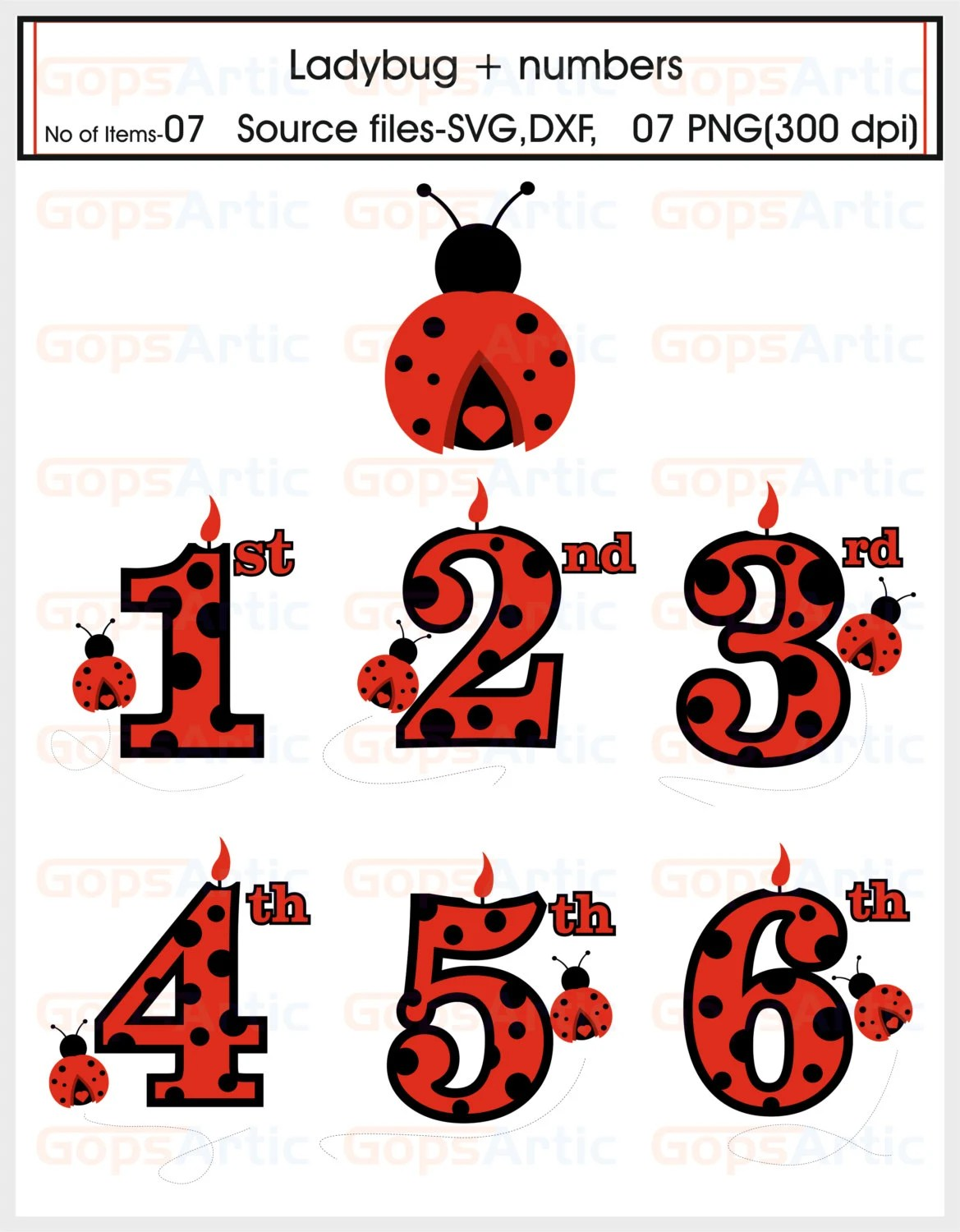 Ladybug Plus Numbers Svg Dxf Files From Gopsartic On