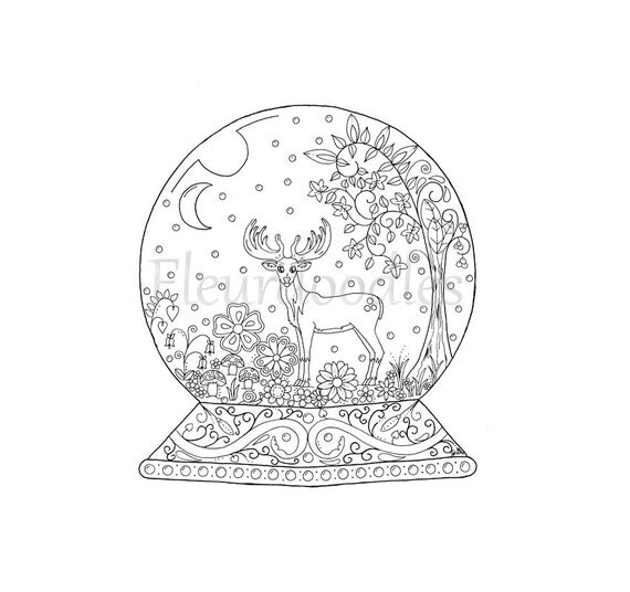 adult coloring page snow globe instant download by fleurdoodles