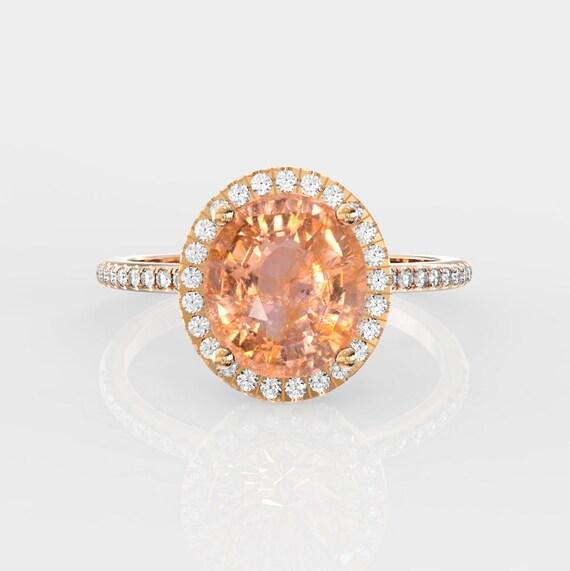 Padparadscha sapphire engagement ring,