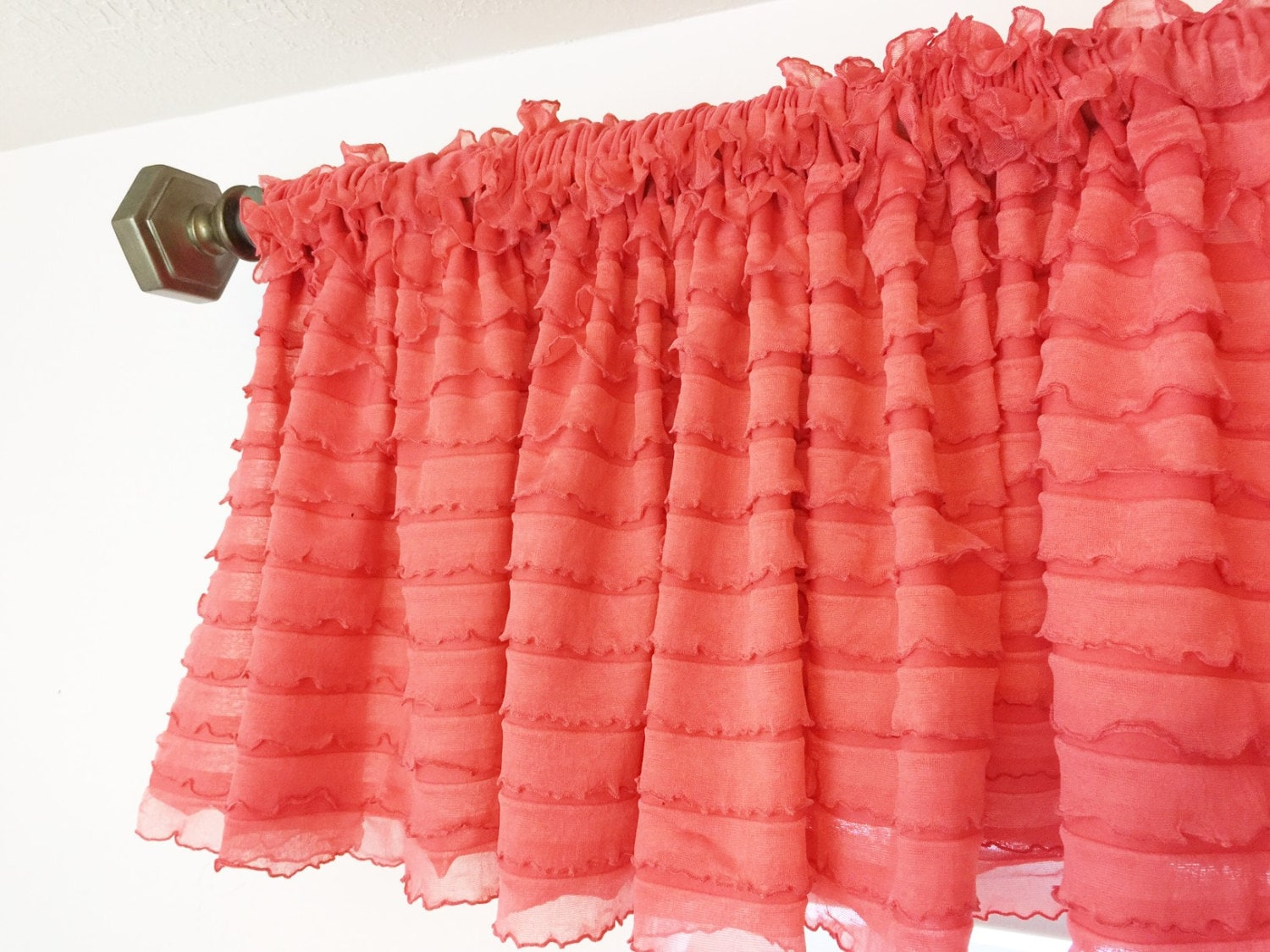 Coral Valance Coral Ruffle Curtains Coral Curtain