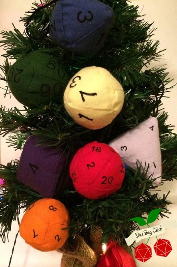 Full Dice Plush Christmas Ornament set,