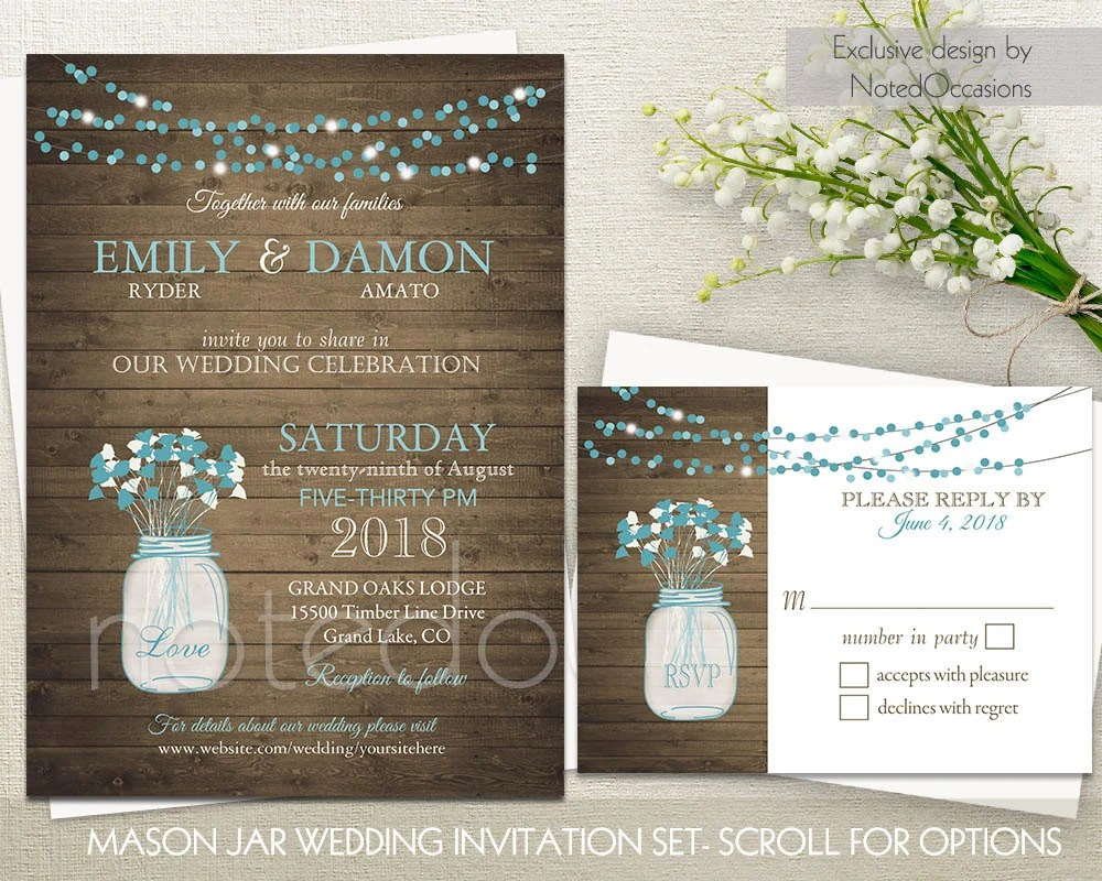 Rustic Wedding Invitations Mason Jars