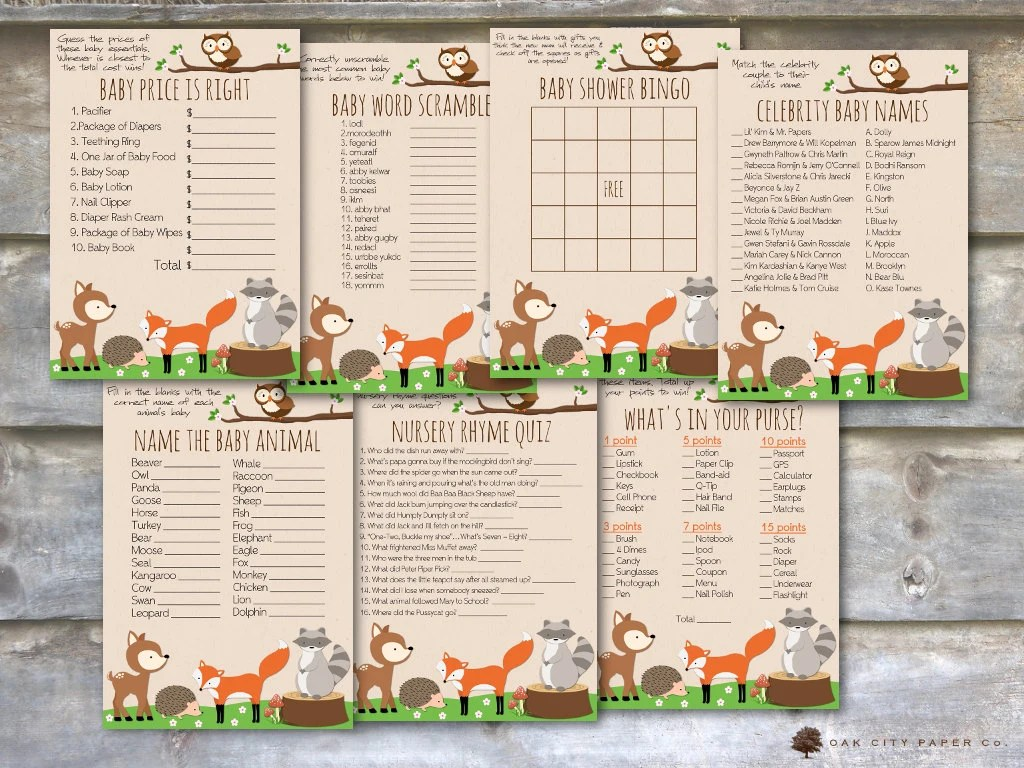 Woodland Baby Shower Games Animal Baby Shower Games