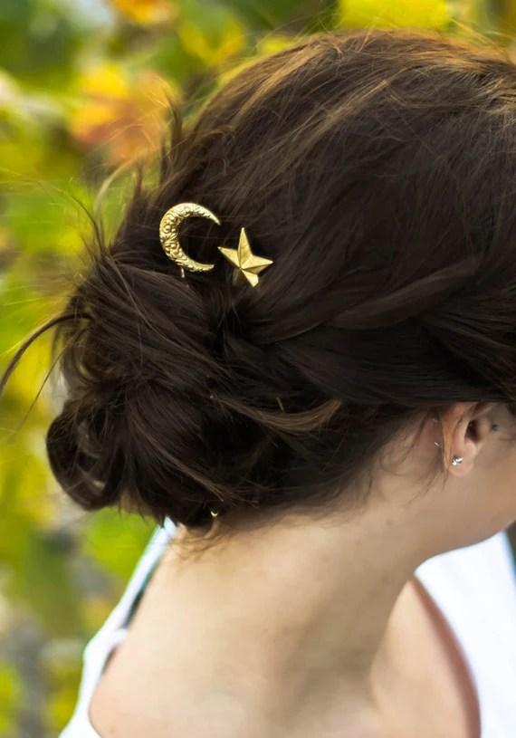 Crescent Moon Amp Star Hair Clips Paisley Moon Hair Pins Star