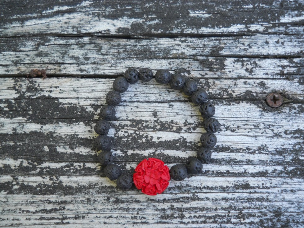 cinnabar and lava rocks stretch bracelet, oil diffuser bracelet, stretch bracele, oil diffusion bracelet