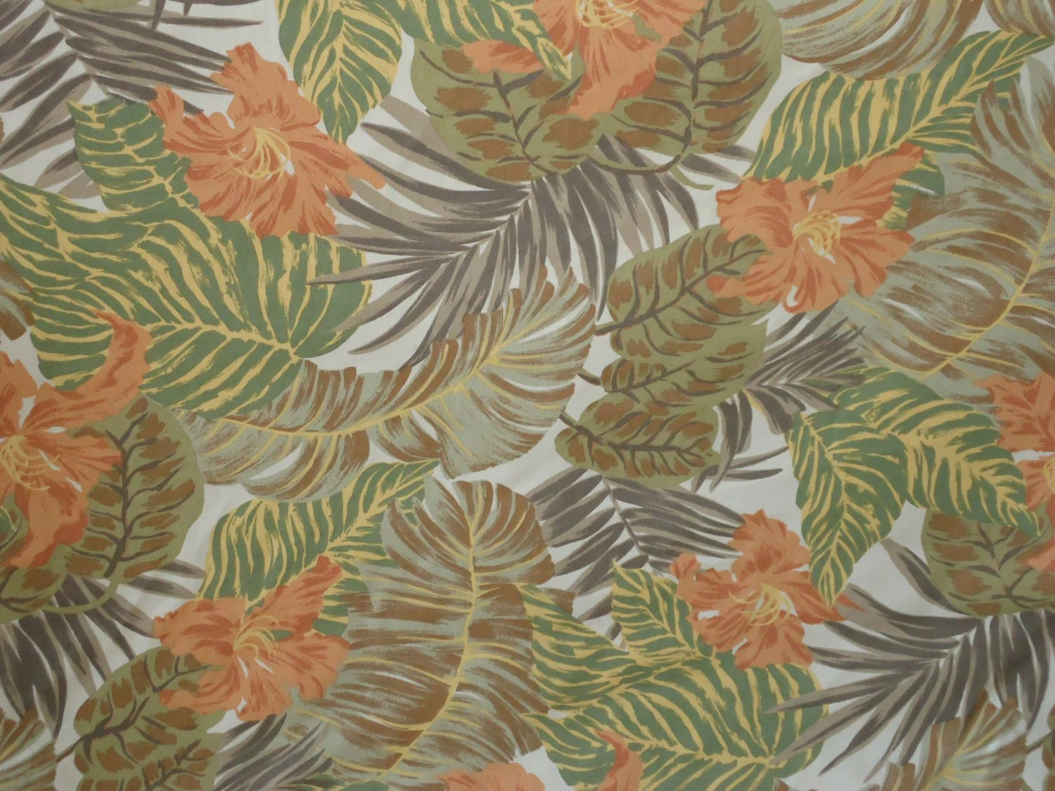 TROPICAL FOLIAGE Indoor/Outdoor Fabric Retro Look Made In