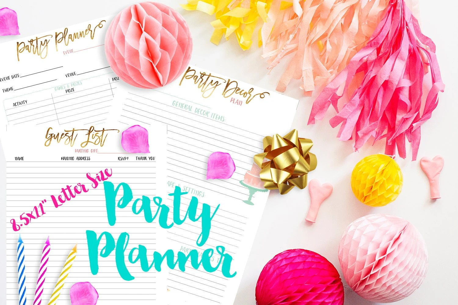 8 5x11 Party Planner Printable Inserts For 3 Ring Binder