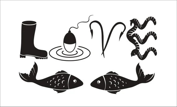 SVG Cut File Love to Fish for Scrapbooking Decal Tshirt Tote