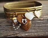 Bangles of Love Heart Charm Bracelet - Vintage Assemblage