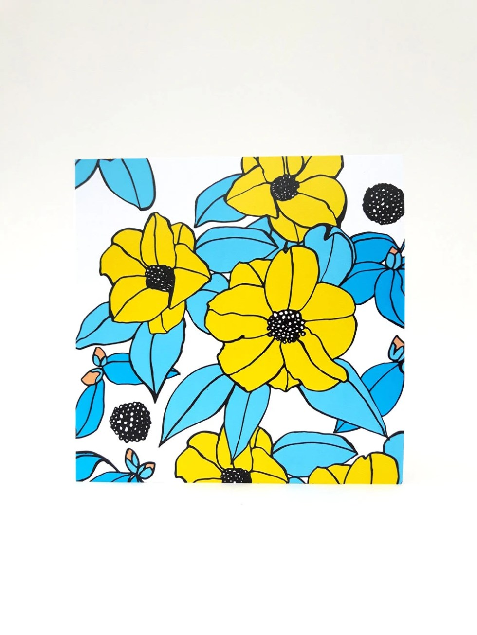 Floral card. Yellow and b...