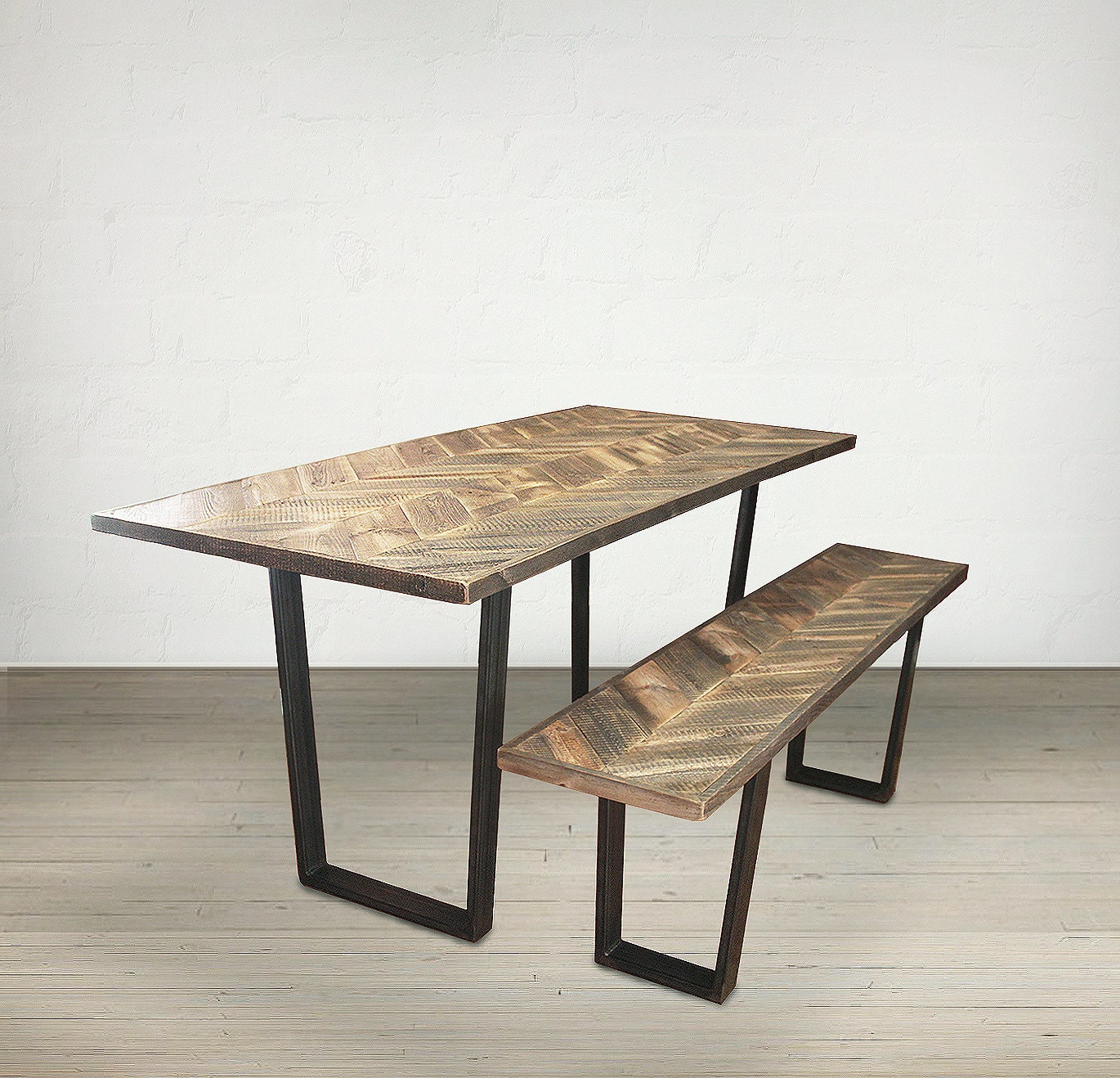 Reclaimed Wood Dining Table And Bench Kitchen Table And Bench
