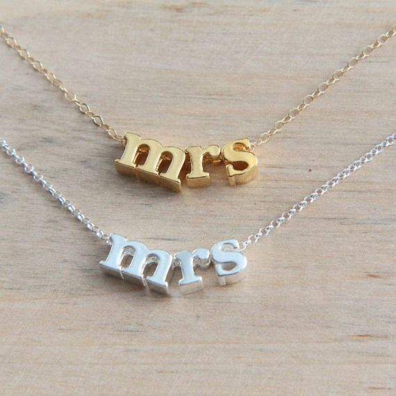 Mrs. Necklace, Sterling Silver Mrs. Necklace, Gold Mrs Necklace, Bridal Shower Gift, New Bride Gift, Honeymoon necklace, From Miss to Mrs