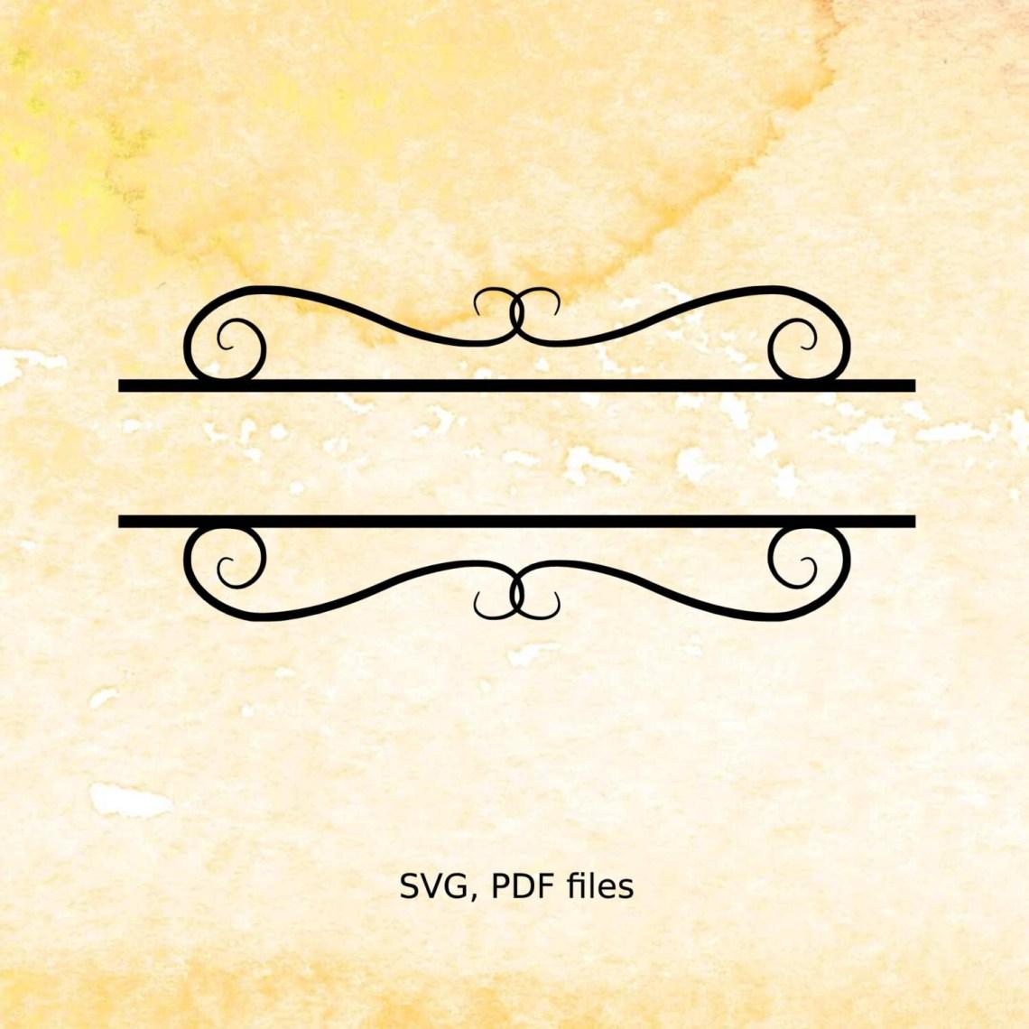 Download Split Monogram SVG, Fancy Scroll svg, pdf cutting files ...