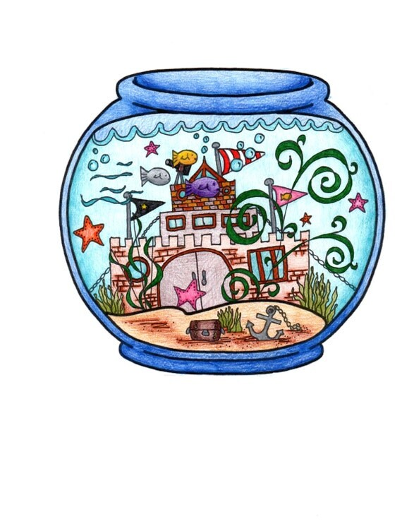 fish bowl coloring page by tohappilyevercrafter on etsy
