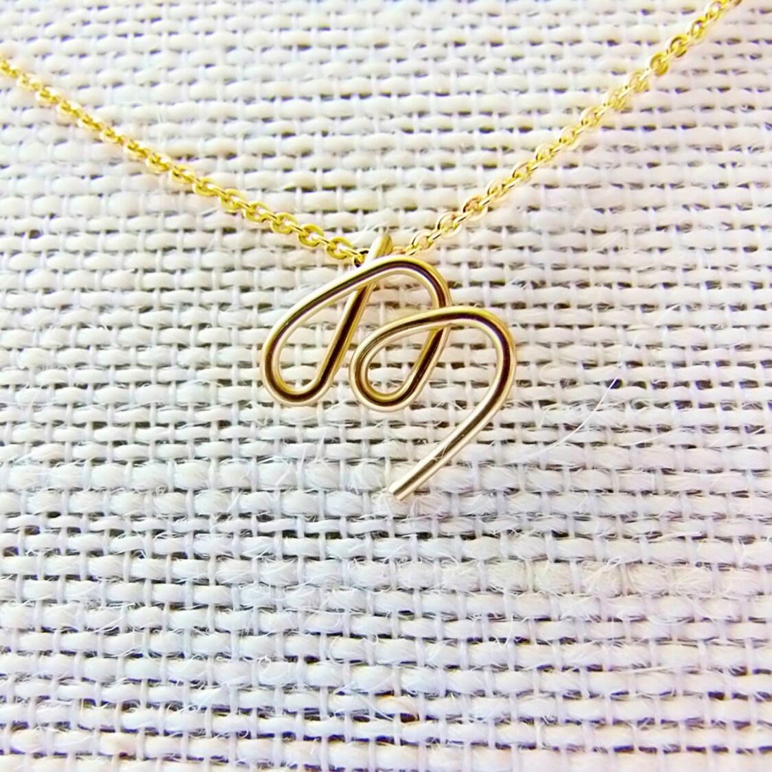 Letter M Necklace Gold Initial Necklace Cursive Letter