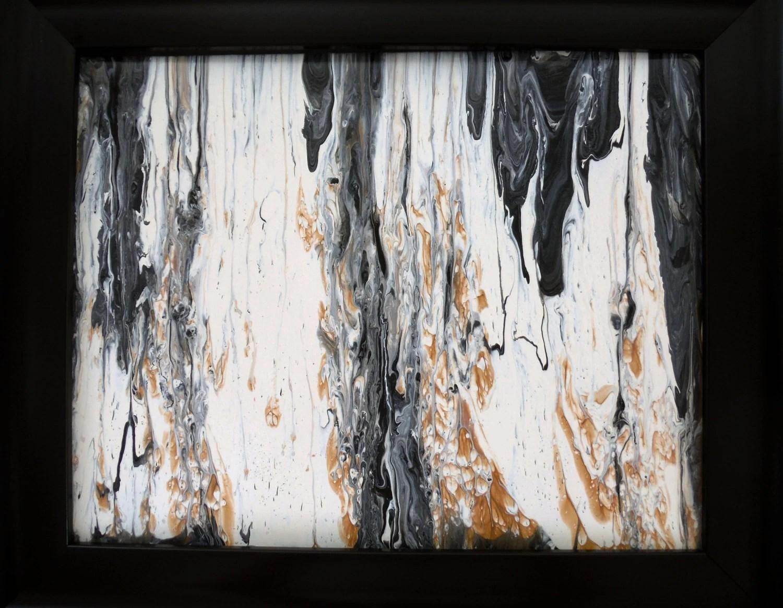 Framed Art Fluid Acrylic Painting Brown Gold Black Beige
