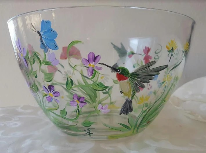 Handpainted Glass Pitcher With Wisteria Mothers By