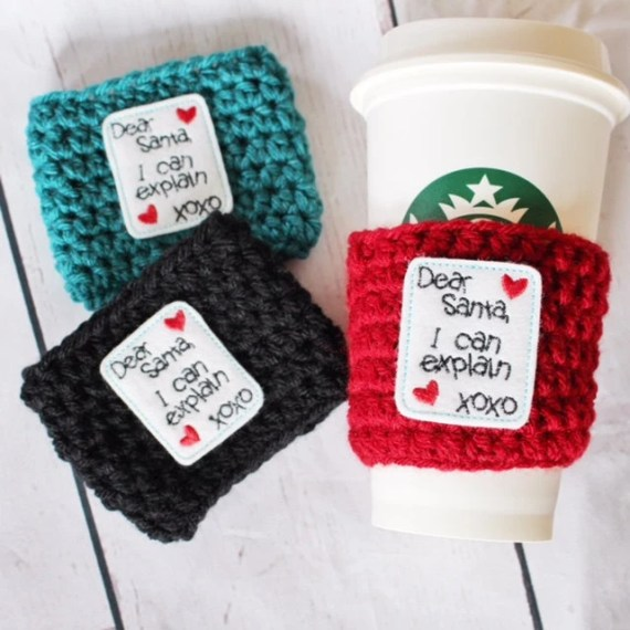 Dear Santa Coffee Cozy ~ Crochet Coffee Cozy ~ Coffee Cozie
