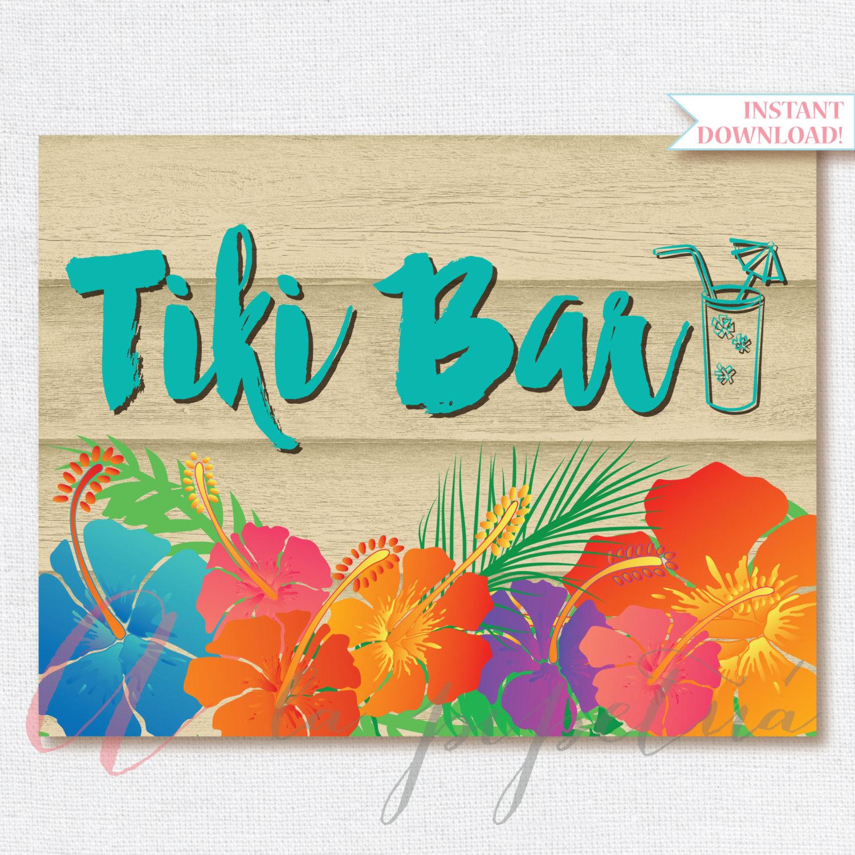 Tiki Bar Sign Luau Sign Printable Luau Sign Hawaiian Printables Luau Party Tiki Bar