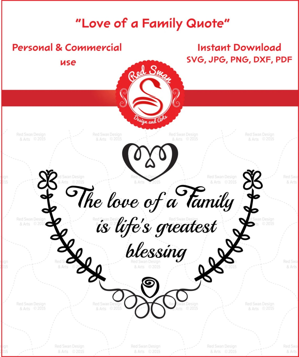 Download Love of a Family Life's Blessing Family Quote svg DXF
