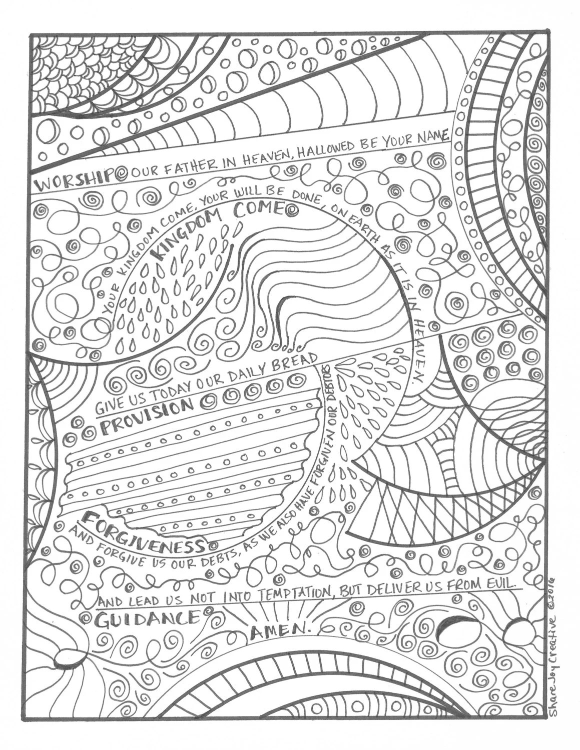 The Lord S Prayer Coloring Page