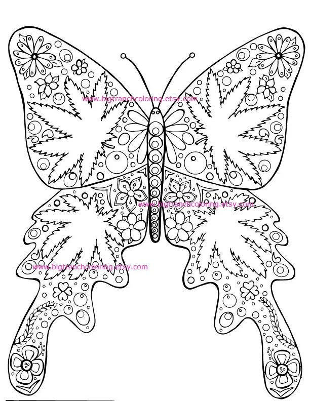 adult coloring page hippie marijuana leaf butterfly