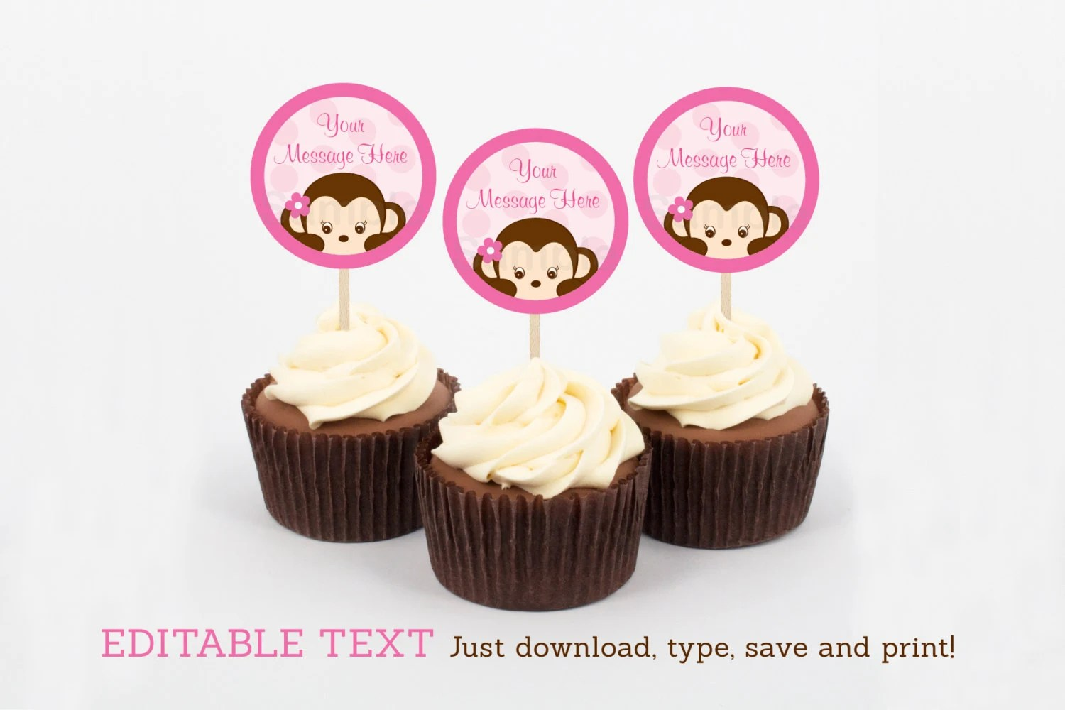 Girl Monkey Cupcake Toppers / Party Favor Tags / Party Circles