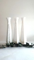 Milk Glass Bud Vase 3-Piece Collection: White, Vanity, Beauty, Collectible, Flower, Wedding Centerpieces