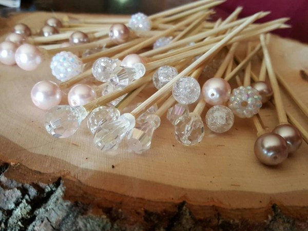 50 dessert and fruit skewers in crystal, pale pink, blush, silver, and pearl - dessert table, donut bar, appetizers