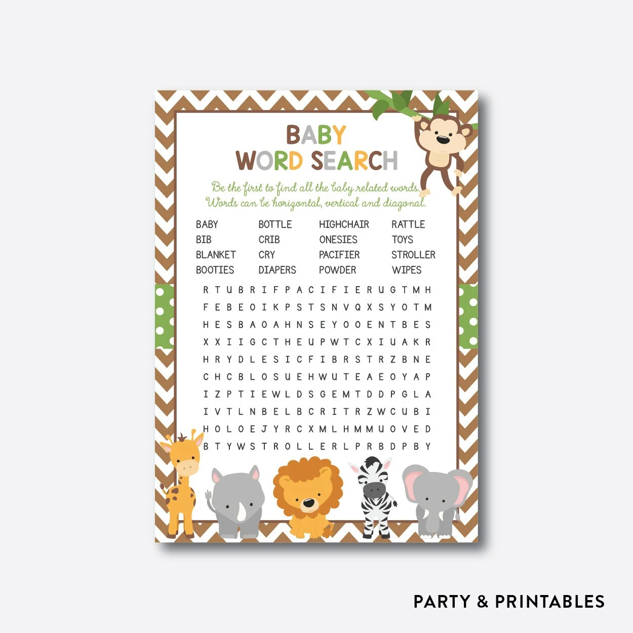 Instant Download Safari Baby Word Search Safari Baby Shower