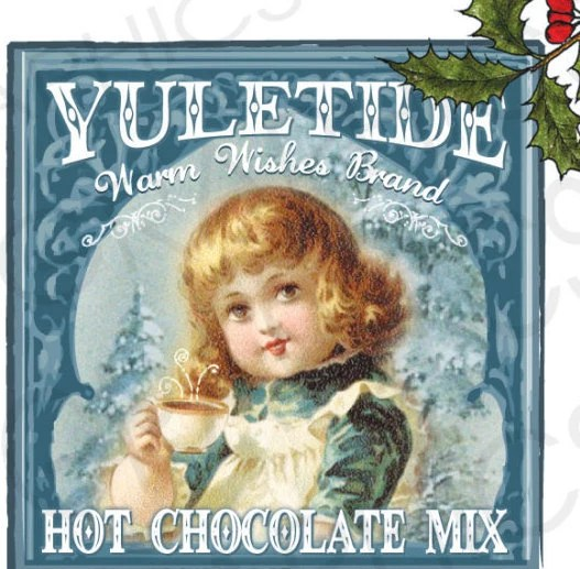 Vintage Christmas Cocoa Label Hot Chocolate Gift Tag Instant