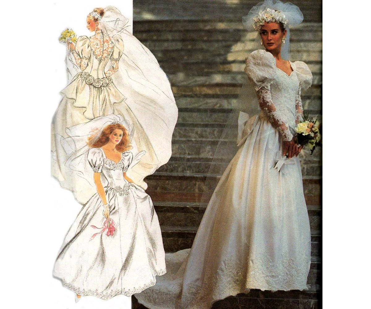 90s Design Your Own Wedding Dress Pattern Simplicity 7429 Lace