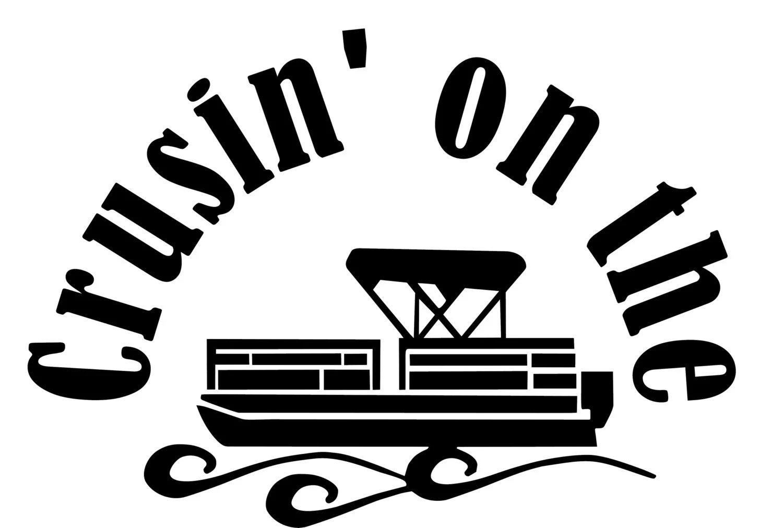 Crusin On The Pontoon Window Wall Decal Truck Boat