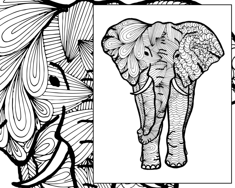 Elephant Coloring Sheet Animal Coloring Pdf Zentangle Adult