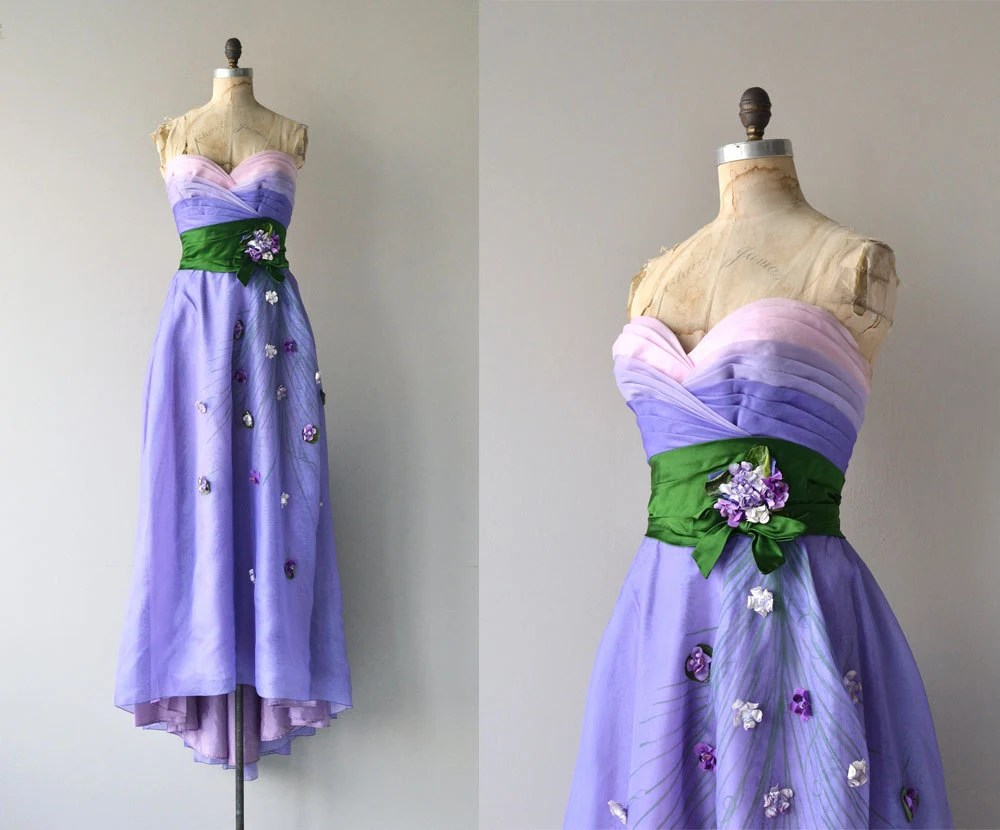 Philip Hulitar Gown Vintage 1940s Dress Strapless 40s