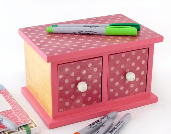 Desk Accessories: Dotted Mini Chest of Drawers