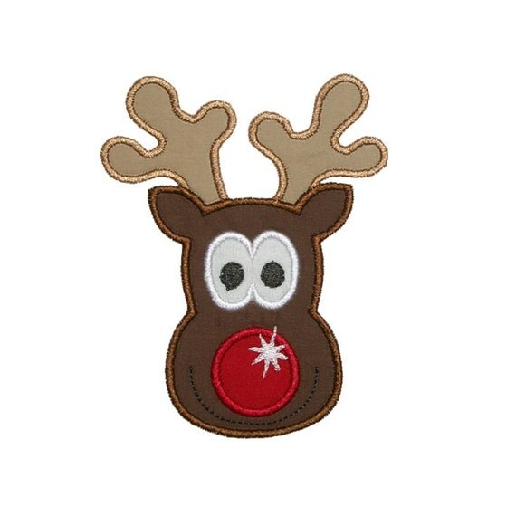Rudolph Reindeer Face Embroidery Machine Applique Design