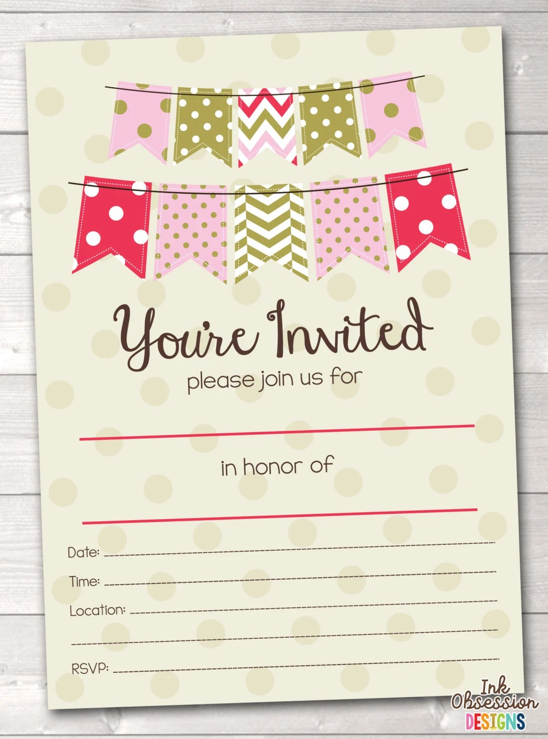 Plain Bridal Shower Invitations