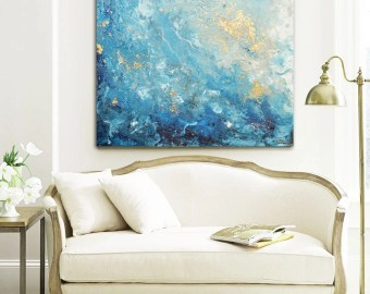 Giclee Print Large Art Abstract Painting Blue White Wall Home Decor Canvas Prints Coastal