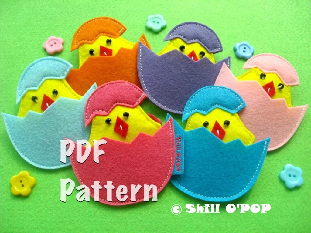 Easter Toy Baby Chick In Eggshells Matching Game Pattern