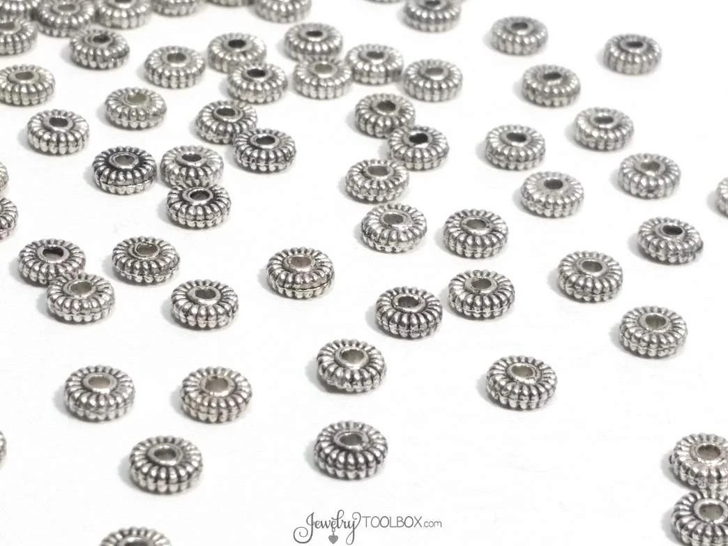 Silver Metal Rondelle Beads Antique Silver Pewter Beads