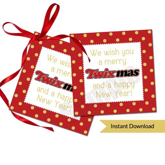 Merry Twix Mas Christmas Holiday Gift Favor Tag Printable