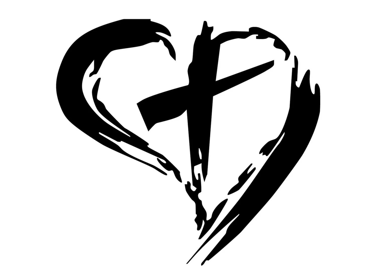 Christian Cross Inside Heart Decal. Cross With Around It