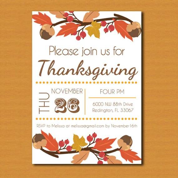 Thanksgiving Invitation Thanksgiving Invite