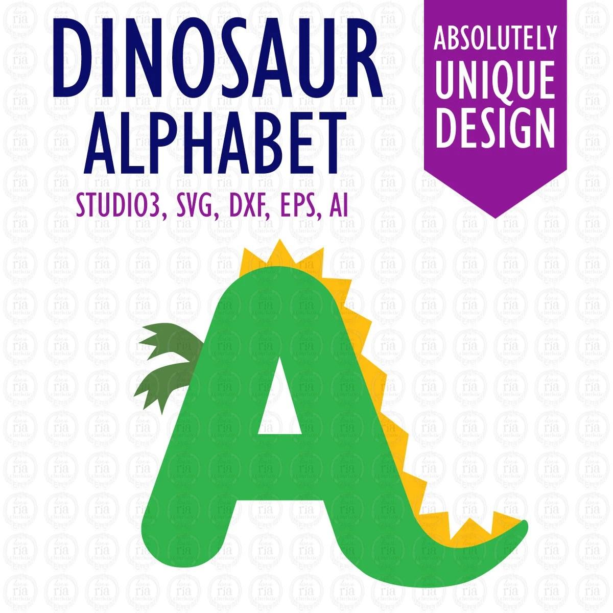 Dinosaur Alphabet Letters Digital Cutting By Loveriacharlotte