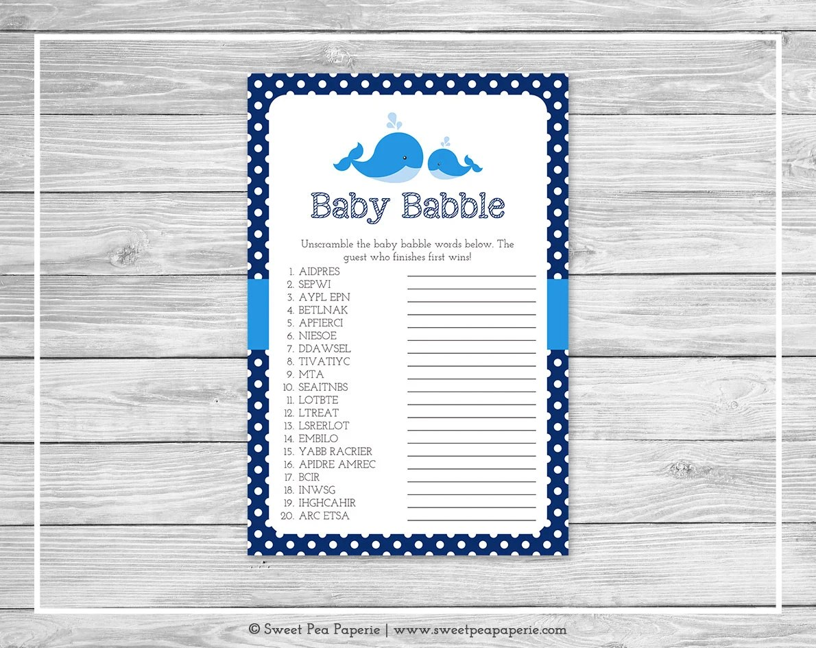 Whale Baby Shower Baby Babble Game Printable Baby Shower